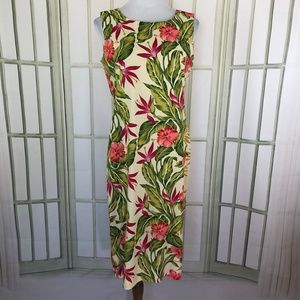 Tropical Hawaiian Floral Shift Midi Dress